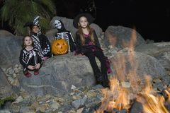 Kids Celebrating Halloween Festival Stock Image