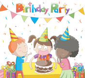 Kids celebrating their Birthday. Cute cartoon illustration / EPS 10 Stock Photography