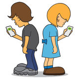 Kids On Cell Phones. Cartoon boy and girl are using their cell phones to text each other Stock Illustration