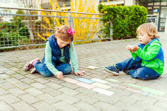 Kids with chalk Royalty Free Stock Image
