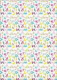 Kids chalk crayon alphabet seamless background in bright colours Stock Image