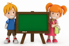 Kids and Chalkboard Stock Photo