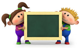 Kids with chalkboard. Cute kids holding a blank chalkboard - high quality 3d illustration Royalty Free Stock Photography