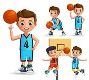 Kids character playing basketball vector set. Young school boy wearing basketball uniform. Doing different poses and ball tricks isolated in white background royalty free illustration