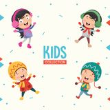 Kids Characters Collection Vector Illustration royalty free illustration