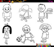 Kids characters coloring page Royalty Free Stock Image