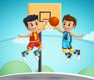 Kids characters playing basketball vector illustration.Young school boys wearing basketball uniform. Playing  in the court playground. Vector illustration vector illustration