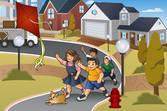 Kids Chasing a Lost Kite. A vector illustration of kids chasing a lost kite in the neighborhood Stock Image
