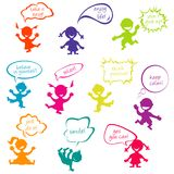 Kids with chat bubbles with positive messages. Colored doodle kids with chat bubbles with positive slogans Stock Image