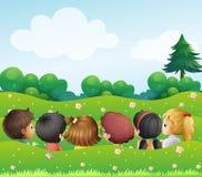 Kids chatting at the hills stock illustration