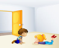 Kids chatting inside a room Stock Photos