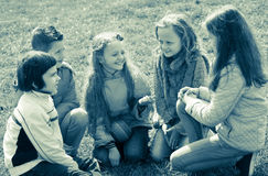 Kids chatting outdoor Stock Photography