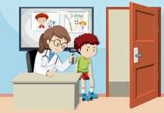 A Kids Checking Ear With Doctor vector illustration