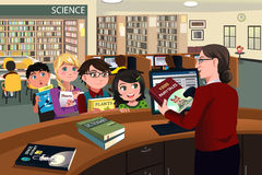 Kids checking out books in the library vector illustration