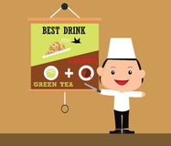 Kids chef illustration with some food menu as background Stock Photography