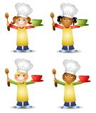 Kids In Chef's Hats. A clip art illustration featuring your choice of little kids dressed in chef's hats, aprons, holding spoons and bowls Stock Images