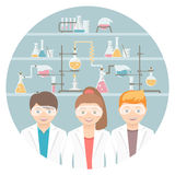 Kids in chemistry class flat education concept Stock Photos