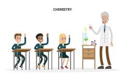 Kids at chemistry class. Kids at chemistry class with teacher on white Royalty Free Stock Photos