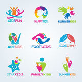 Kids child art and fun logo vector set design Stock Photos