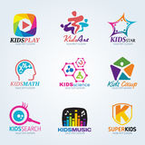 Kids child for art and summer camp logo vector set design Royalty Free Stock Photo