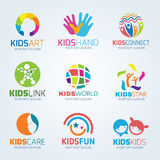 Kids child logo vector set design stock illustration