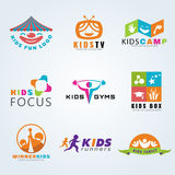 Kids child sport and fun logo vector set design Stock Photography