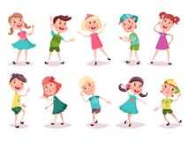 Kids or children, boy and girl dancing and playing. Children or kids playing and grimacing. Cartoon young boy in cap and girl with pigtails in skirt dancing Royalty Free Stock Photos