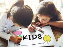 Kids Children Childhood Imagination Concept. Kids Children Childhood Imagination Drawing Royalty Free Stock Photo