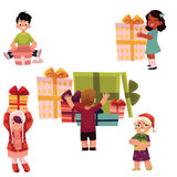 Kids, children and Christmas birthday presents set Stock Image