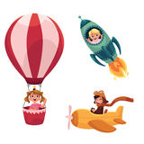 Kids, children flying in aircrafts - plane, rocket, hot air balloon. Cartoon vector illustration isolated on white background. Little kids in aircrafts Stock Photos