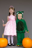 Kids children Halloween costumes pumpkins princess. A boy in a dragon costume standing with a girl in a princess costume.  They are in front of a gray background Royalty Free Stock Photo