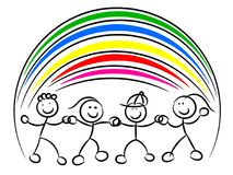 Kids or children hand in hand rainbow isolated. On white Royalty Free Stock Photography