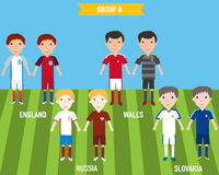 Kids children in home and away jersey uniform in France EURO 201 Royalty Free Stock Images