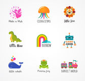 Kids, children icons and logos, childhood elements. Play and game stock illustration