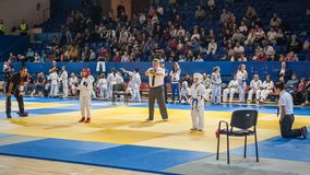 Kids and Children Martial Arts Sport Demonstration. Kyokushin Be Royalty Free Stock Photo