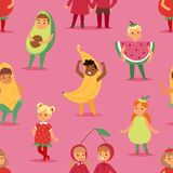 Kids children party fruits costume vector cartoon mask and dress festive boys and girls fancy childhood kid Christmas. Party characters illustration. Festival Stock Image