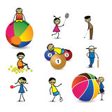 Kids(children) or people playing different sports & games. The girls and boys are playing cricket, basketball, tennis, table tennis, golf, shuttle badminton royalty free illustration