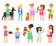 Kids children with pet vector girls and boys playing with animal characters cat dog or puppy illustration set of person royalty free illustration