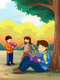Kids children playing in the  park. Autumn spring beautiful weather to play in an outdoor park. Children are having fun with different activities, reading Royalty Free Stock Images