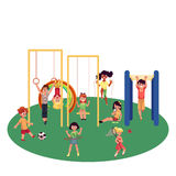 Kids, children playing at playground, summer activity set Royalty Free Stock Images