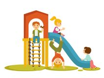 Kids children playing on playground vector cartoon. Kids or children playing on playground in kindergarten. Boy with toy plane play with girls riding on child Royalty Free Stock Images