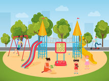 Kids children playing in the playground. Vector illustration. Stock Images