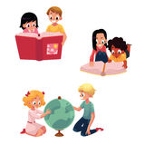 Kids, children reading, studying, learning together, cartoon vector illustration. Isolated on white background. Kids, children, boys and girls, reading book Royalty Free Stock Images