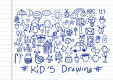 Kids and children's hand drawings Royalty Free Stock Image