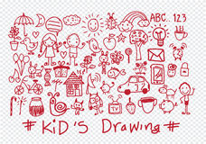 Kids and children's hand drawings Stock Photography