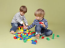 Kids, Children Sharing and Playing Together stock images
