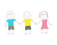 Kids children standing together holding hands Royalty Free Stock Photography
