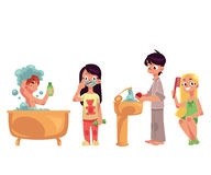 Kids, children taking bath, brushing teeth, washing hands, combing hair. Hygiene concept, cartoon vector illustration isolated on white background. Kids doing royalty free illustration