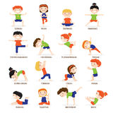 Kids Children Yoga Poses Cartoon Set.