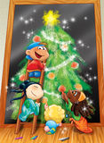 Kids at Christmas. Some happy children from different countries are drawing a Christmas tree on a black board. Digital illustration Royalty Free Stock Image